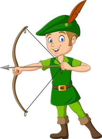Vector illustration of  Cartoon robin hood holding a bow