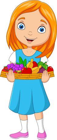 Vector illustration of Little girl holding a basket of fruits Vetores