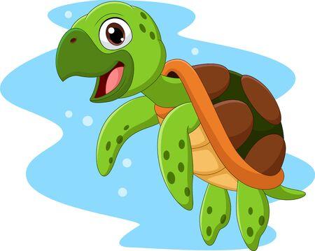 Vector illustration of Cartoon happy sea turtle swimming