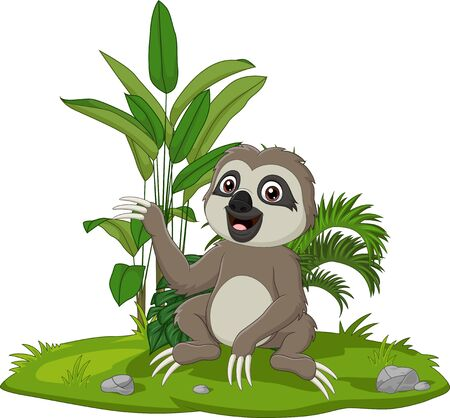 Vector illustration of Cute baby sloth sitting on the grass