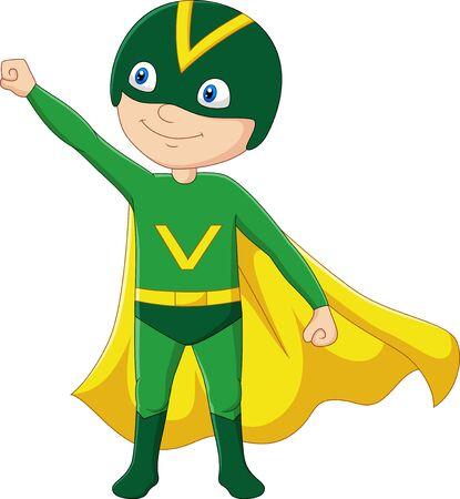 Vektor-Illustration des Cartoon-Superhelden-Jungen isoliert auf weiß