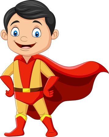 vector illustration of Cartoon superhero boy isolated on white Векторная Иллюстрация