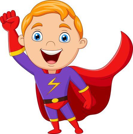 illustrazione vettoriale del ragazzo del supereroe del fumetto isolato su white