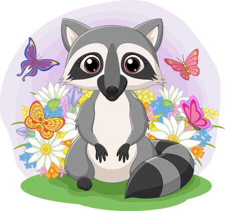 vector illustration of Cute raccoon standing in the grass
