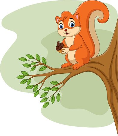 vector illustration of Cartoon squirrel holding pine cone on tree branch