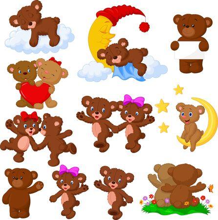 Vector illustration of Cartoon happy bear collection set