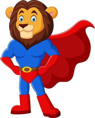 Vector illustration of Cartoon funny superhero lion posing