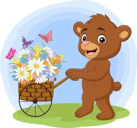 Vector illustration of Cartoon bear pushing cart full of flowers