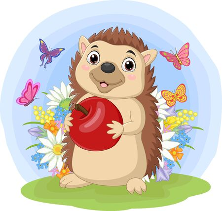 Cartoon hedgehog holding apple in the grass