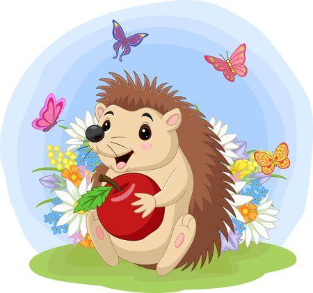 Vector illustration of Cartoon baby hedgehog holding apple in the grass Vektorové ilustrace