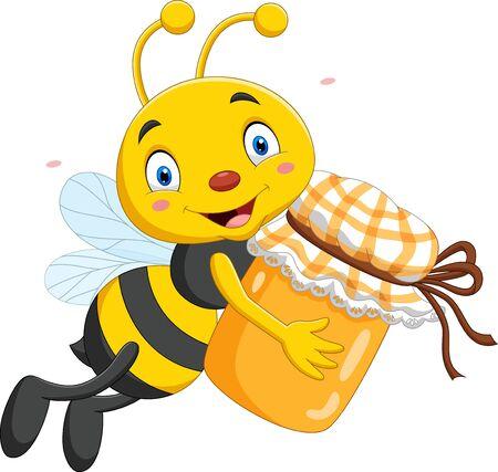 Vector illustration of Cartoon little bee holding honey jar