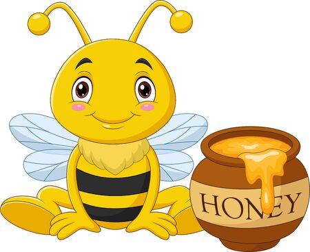 Vector illustration of Cartoon little bee with honey pot Ilustración de vector