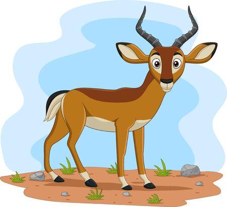 Vector illustration of Cartoon impala in the field