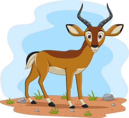 Vector illustration of Cartoon impala in the field