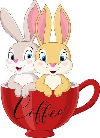 Vector illustration of Cartoon couple rabbit in the coffee cup Vecteurs
