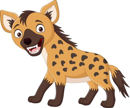 Vector illustration of Cartoon funny hyena isolated on white background
