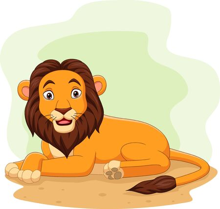 Vector illustration of Cartoon happy lion in the field