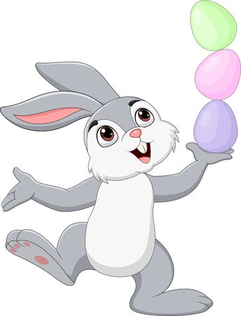 Vector illustration of Cartoon little bunny with Easter eggs