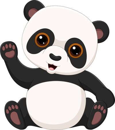 Vector illustration of Cute little panda waving isolated on white background