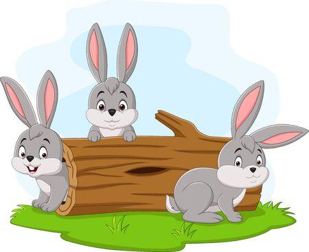 Illustration vectorielle de dessin animé de trois lapins jouant dans le journal