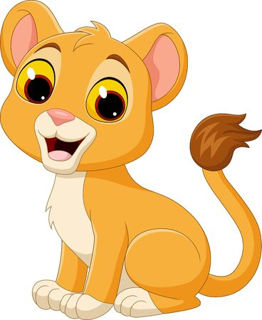 Vector illustration of Cartoon baby lioness isolated on white background