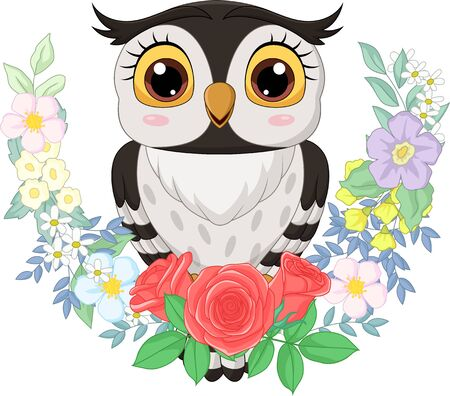 Vector illustration of Cartoon owl with flowers background