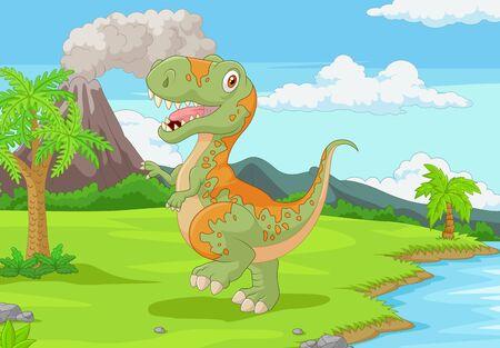 Illustration vectorielle de tyrannosaure de dessin animé dans la jungle