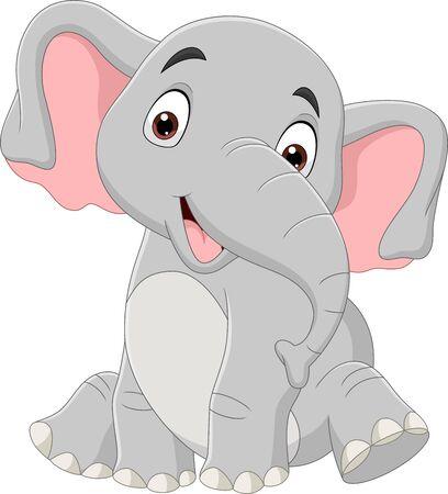 Vector illustration of Cartoon funny elephant sitting isolated on white background