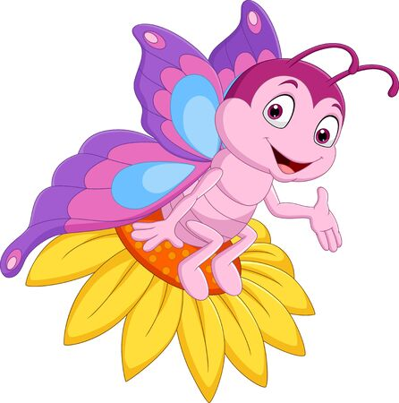 Vector illustration of Cartoon funny butterfly sitting on the flower Illustration