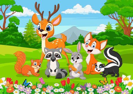 Vektorillustration von wilden Tieren der Karikatur im Dschungel? Vektorgrafik