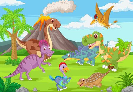 Ilustración de vector de grupo de dinosaurios divertidos en la selva Ilustración de vector