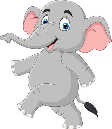 Vector illustration of Cartoon funny elephant isolated on white background Vettoriali