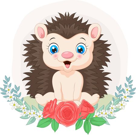 Vector illustration of Cartoon baby hedgehog with flowers background