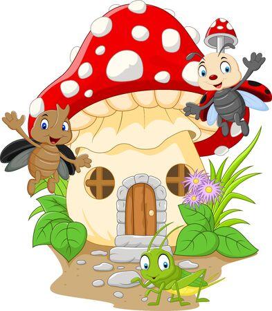 Vector illustration of Cartoon funny insects with mushroom house Ilustração Vetorial