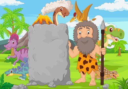 Ilustración de vector de hombre de las cavernas de dibujos animados con cartel de piedra en el bosque