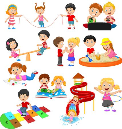 Vector illustration of Cartoon children with different hobbies and sport activities Illustration