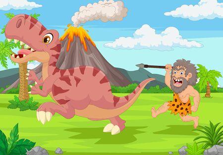 Vector illustration of Cartoon caveman chasing a dinosaur 向量圖像