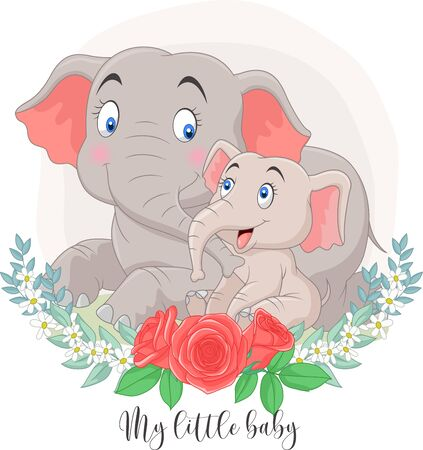 Vector illustration of Cartoon Mother and baby elephant sitting with flowers background Illustration