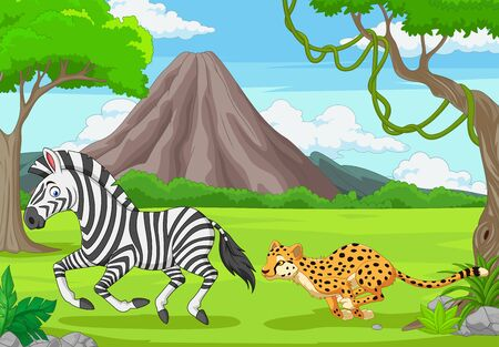 Vector illustration of The cheetah is chasing a zebra in an African savanna