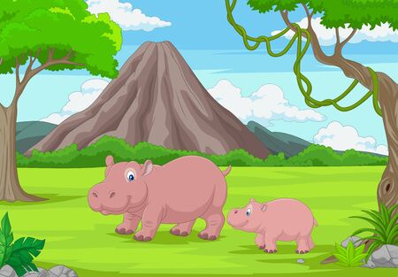 Vector illustration of Cartoon mother and baby hippo in the jungle