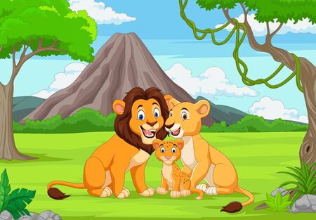 Vector illustration of Cartoon family lion in the jungle