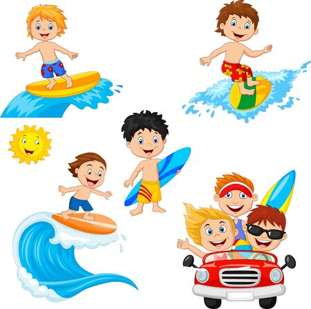 Vector illustration of Set of beach kids playing on surf board