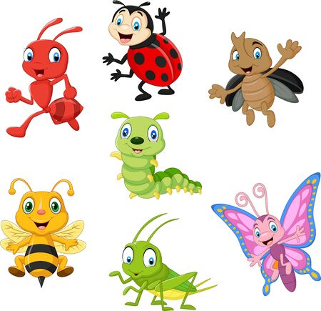 Vector illustration of Cartoon funny insect collection set