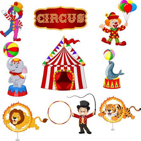 Vector illustration of Set of circus cartoon artists and animals