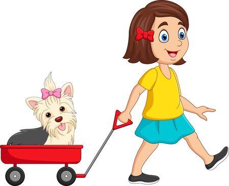 Ilustración de vector de niña de dibujos animados tirando de carro con cachorro