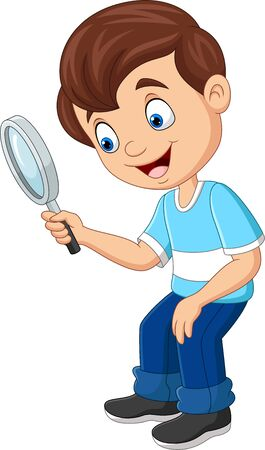 Vector illustration of Little boy using a magnifying glass