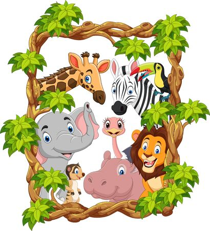 Vector illustration of Cartoon collection happy zoo animals Illustration