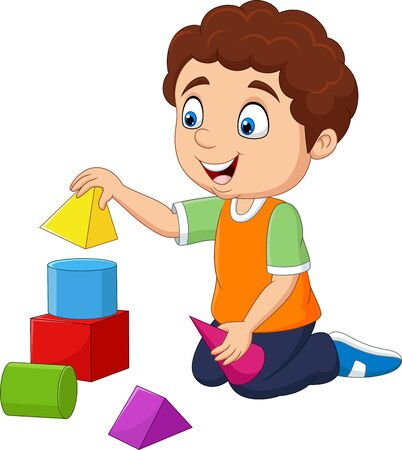 Vector illustration of Cartoon boy playing with building blocks