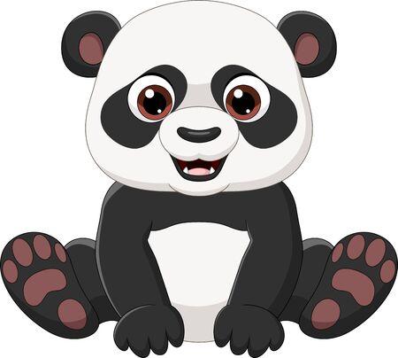 Vector illustration of Cute little panda sitting isolated on white Ilustración de vector