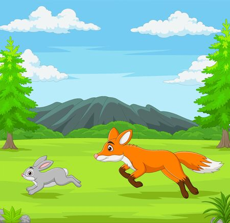 Vector illustration of The fox is chasing a rabbit in an African savanna Vector Illustratie